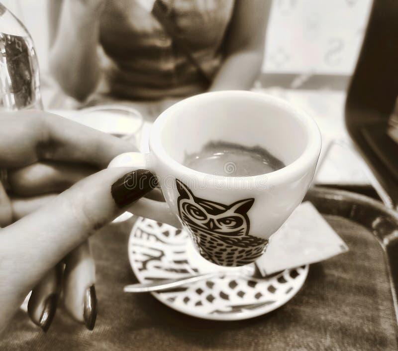 Twee vrouwenvrienden die donkere bruine koffie drinken winkelen binnen koffie royalty-vrije stock foto's