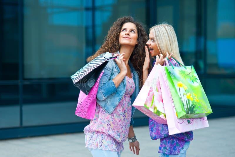 Twee vrouwenvrienden het winkelen stock fotografie