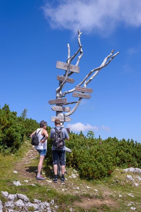 Twee wandelaars voor houten voorzien op boomboomstam van wegwijzers in de Alpen stock foto