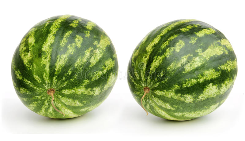 Twee watermeloenen op wit royalty-vrije stock foto's