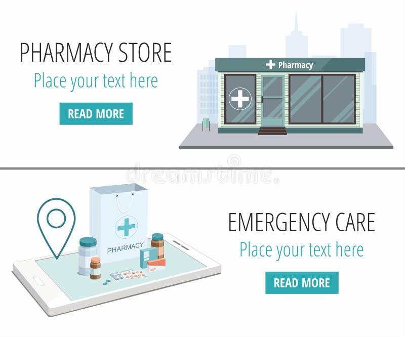 Twee webbanners Facade van de apotheek en papieren zak met pillen geïsoleerd op de witte achtergrond stock illustratie