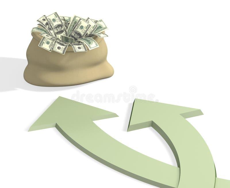Twee wegen aan rijkdom stock illustratie