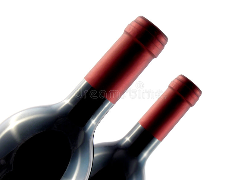 Twee wijnflessen royalty-vrije stock afbeelding
