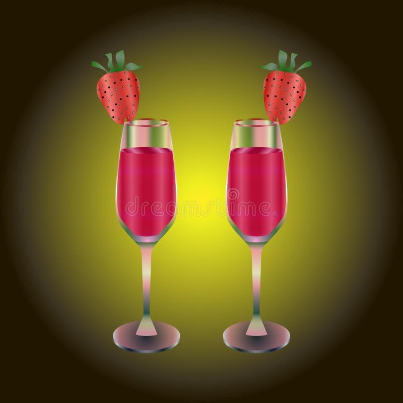 Twee wijnglazen met rode drank en aardbei stock illustratie