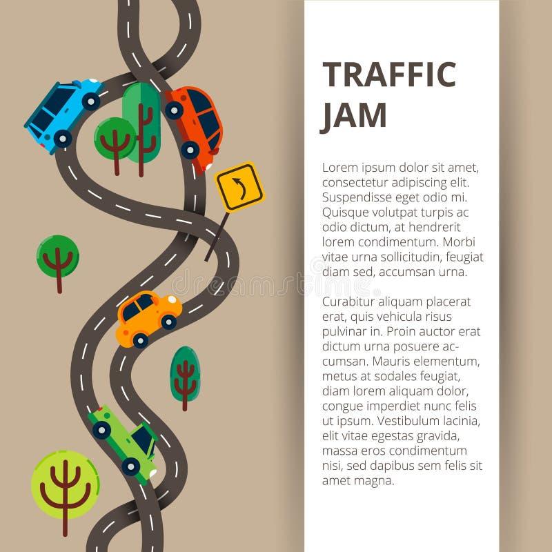 Twee windende wegen met kleurrijke auto's en verkeersteken in moderne fla royalty-vrije illustratie