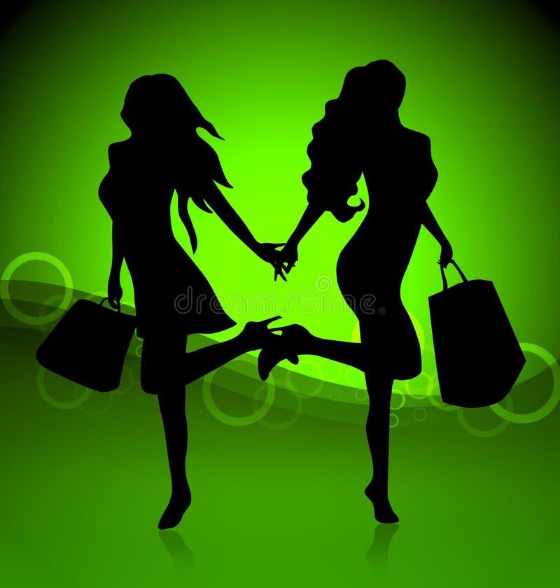 Twee winkelende vrouwen royalty-vrije illustratie