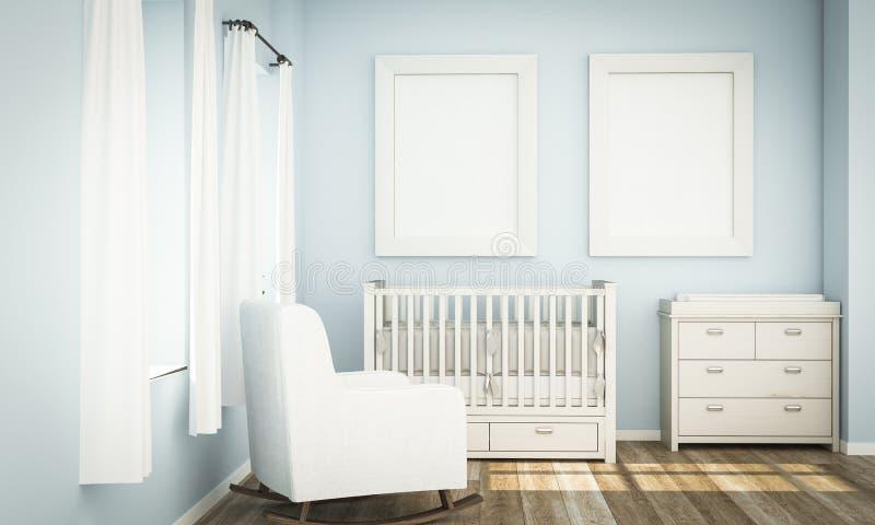 twee wit kadersmodel op blauwe babyruimte vector illustratie