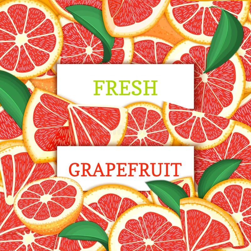 Twee wit rechthoeketiket op de rode achtergrond van het gfapefruitfruit Vectorkaartillustratie Citrusvrucht en tropische rode pom vector illustratie