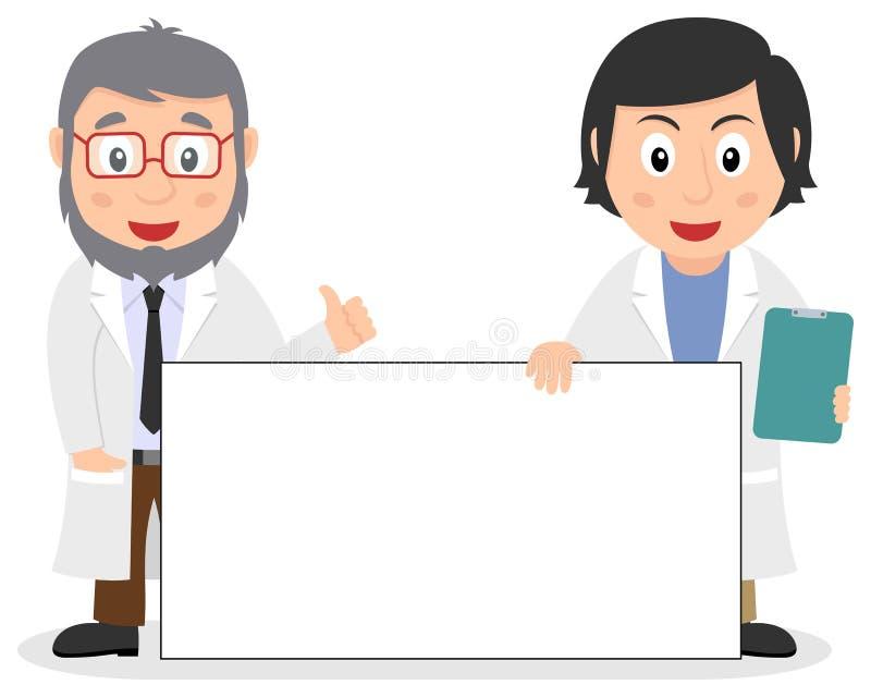 Twee Witte Artsen met Lege Banner stock illustratie