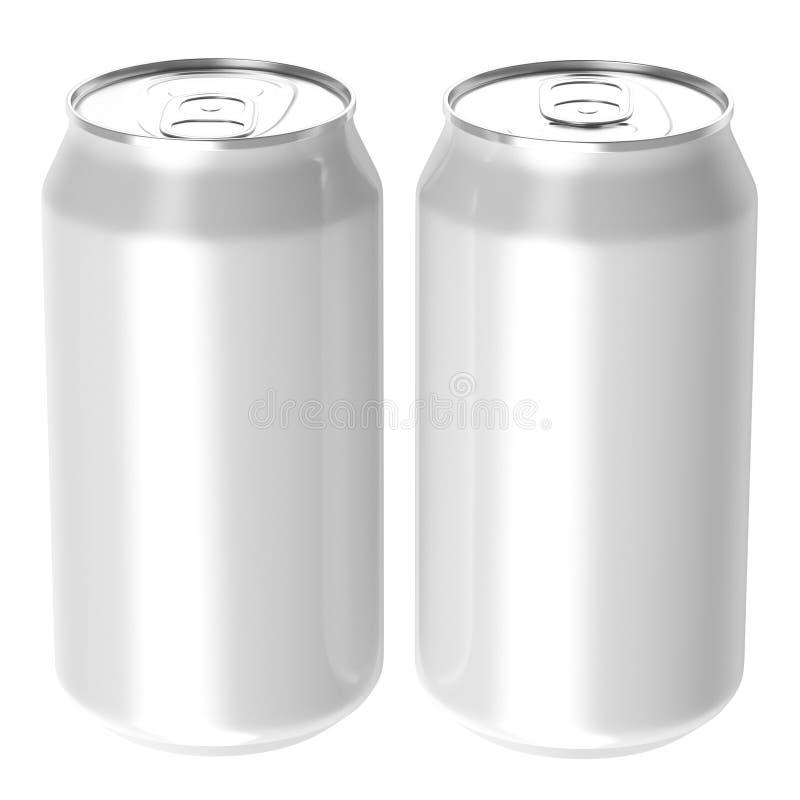 Twee witte blikken van de drankdrank, transparante bac van PNG royalty-vrije stock afbeeldingen