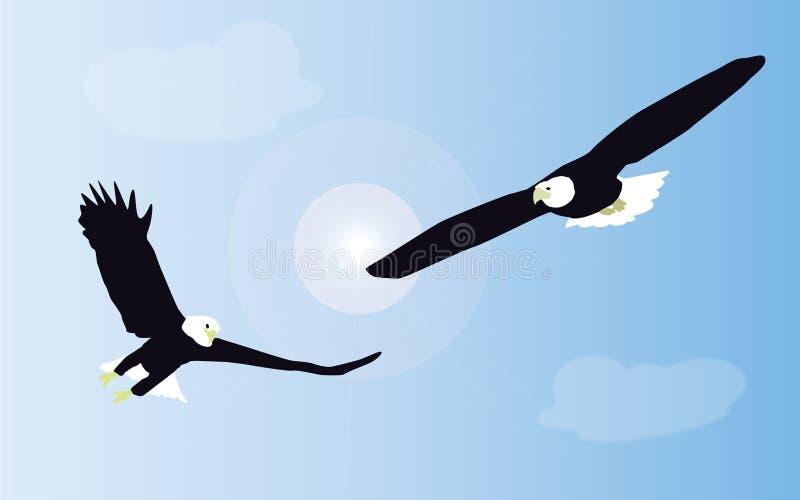 Twee witte de steel verwijderde van adelaars vechten vector illustratie