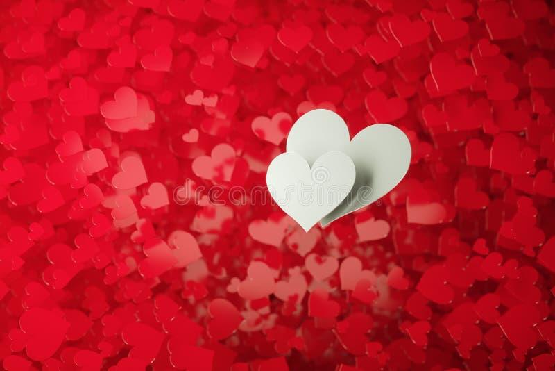 Twee witte harten royalty-vrije illustratie