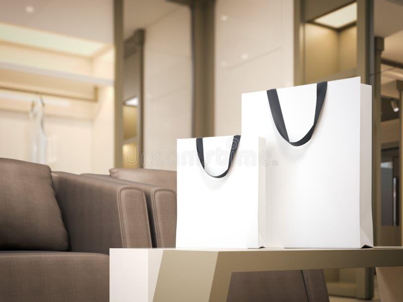 Twee witte het winkelen zakken in heldere boutique het 3d teruggeven royalty-vrije illustratie