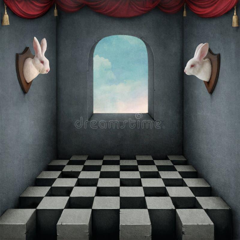 Twee witte konijnen royalty-vrije illustratie