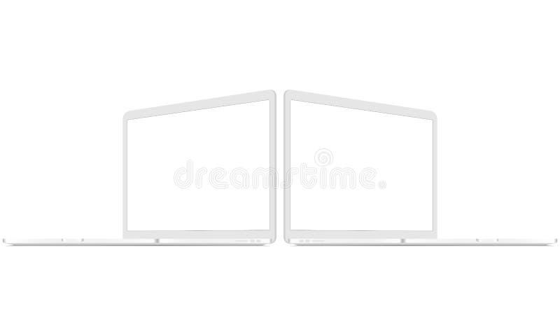 Twee witte laptops met perspectief zijaanzichten stock illustratie