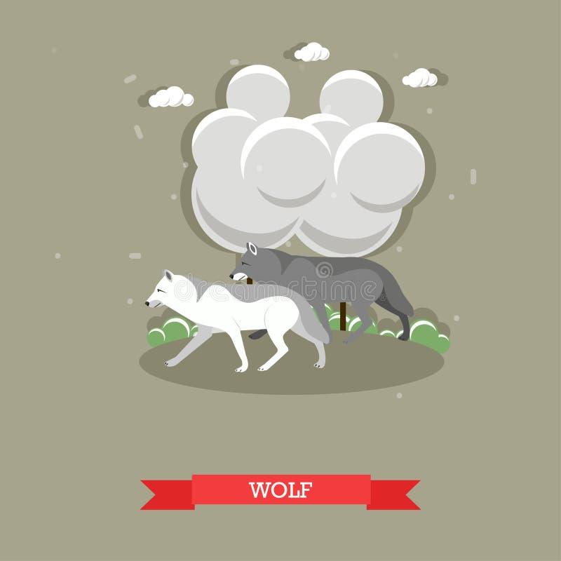 Twee wolven die in een bos lopen - voorraadvector vector illustratie