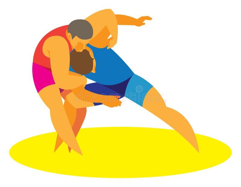 Twee worstelaars worstelen betrokken bij de strijd stock illustratie