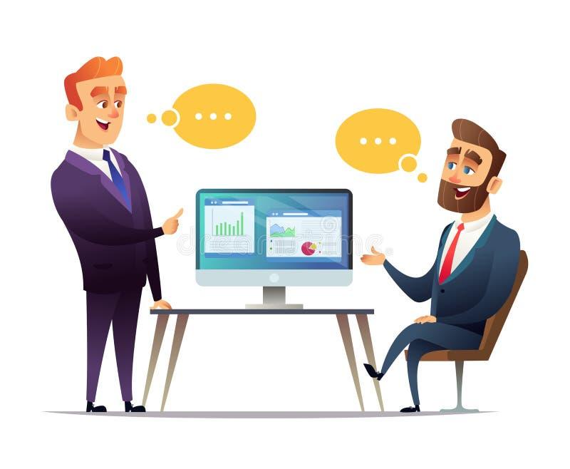 Twee zakenlieden bespreken de strategie om zaken te doen De werknemer vertelt de werkgever over bedrijfsideeën royalty-vrije illustratie