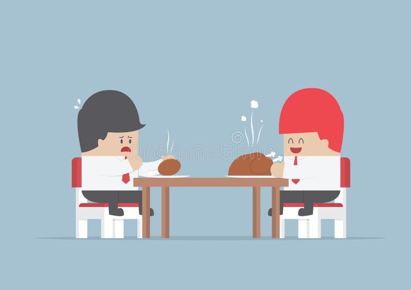Twee zakenlieden die bij het dinning van lijst met grote en kleine piec zitten royalty-vrije illustratie