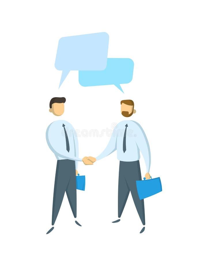Twee zakenlieden die een dialoog, gesprek hebben Concept voor banners, infographics of webpagina's Vlakke vectorillustratie stock illustratie
