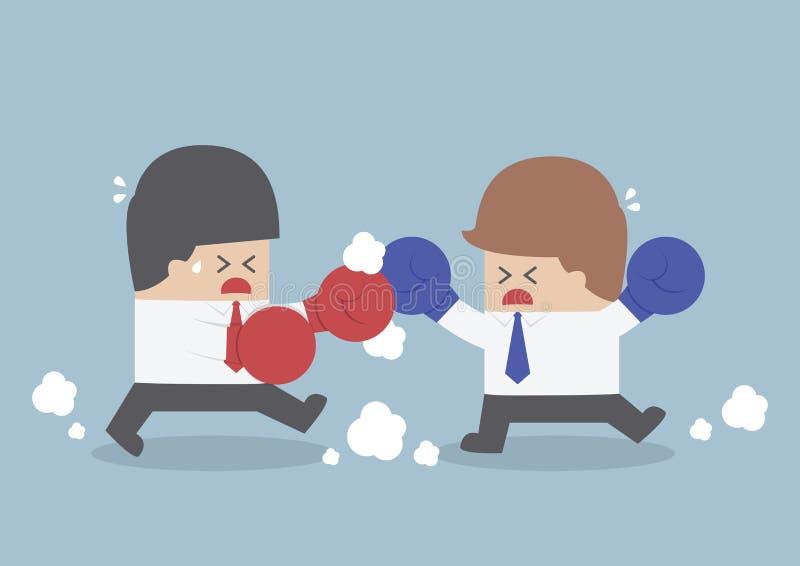 Twee zakenlieden die een strijd met bokshandschoenen hebben stock illustratie