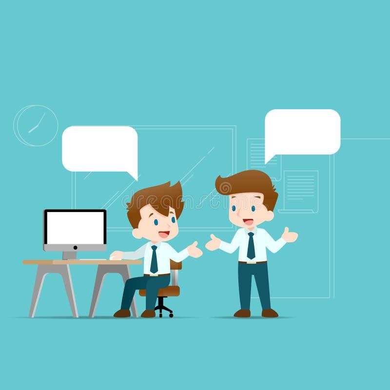 Twee zakenlieden die elkaar bespreken De werknemer die met team over bedrijfsidee?n of over commerci?le organisatie spreken stock illustratie