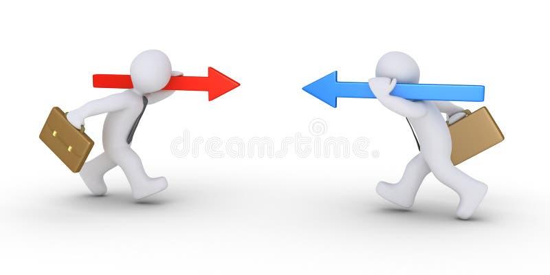 Twee zakenlieden die met verschillende pijlen lopen stock illustratie