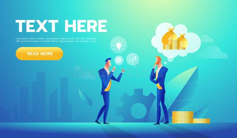 Twee zakenlieden die over geld en zaken spreken Vector illustratie stock illustratie