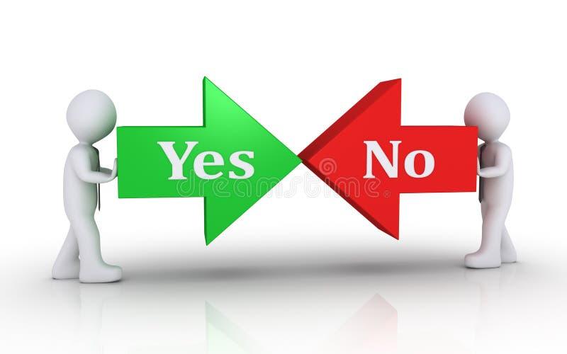 Twee zakenlieden die verschillende pijlen duwen vector illustratie