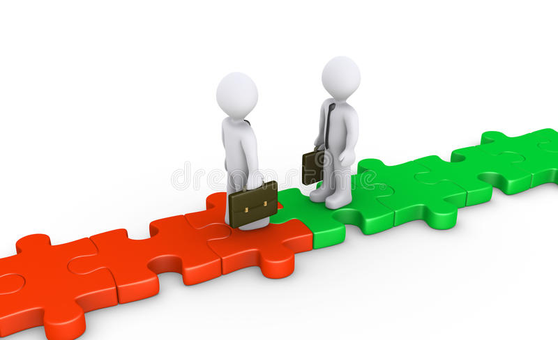 Twee zakenlieden komen op raadselweg samen stock illustratie