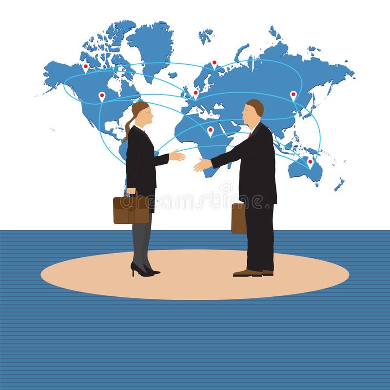 Twee Zakenlieden Man en Vrouw Handdruk vector illustratie