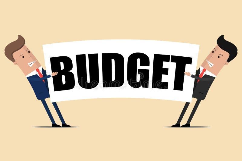 Twee zakenlieden trekken de begroting aan elkaar Vector illustratie royalty-vrije illustratie