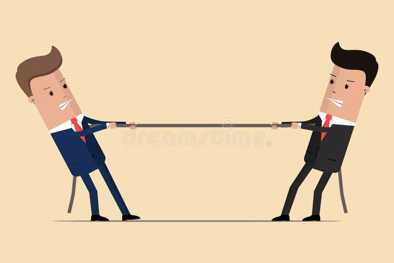 Twee zakenlieden trekken kabel, bedrijfs concurrerend concept Symbool van de concurrentie in zaken Vector illustratie stock illustratie