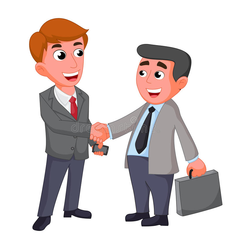 Twee zakenman, het schuddende handen gelukkige onderhandelen stock illustratie