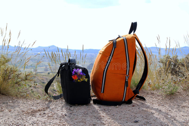 Twee zakken met kleurrijke bloemen op de bergenachtergrond royalty-vrije stock foto