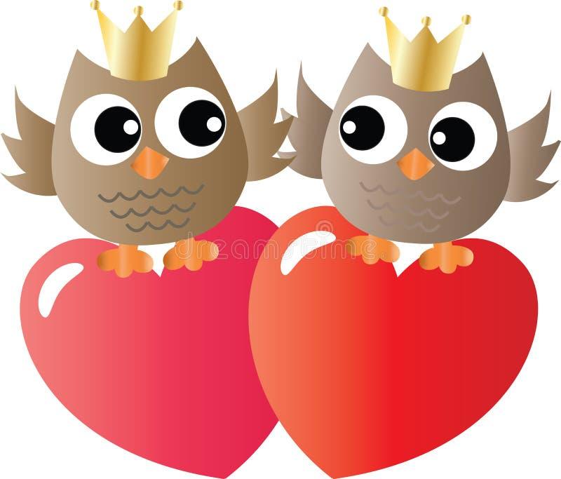 Twee zoete uilen in liefde royalty-vrije illustratie