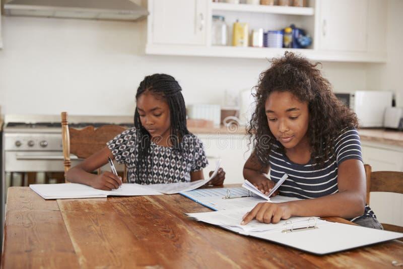 Twee Zusters die bij Lijst in Keuken zitten die Thuiswerk doen royalty-vrije stock afbeeldingen