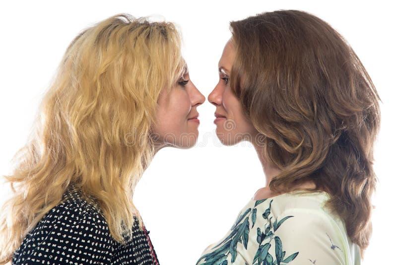Twee zusters die elkaar bekijken royalty-vrije stock foto's