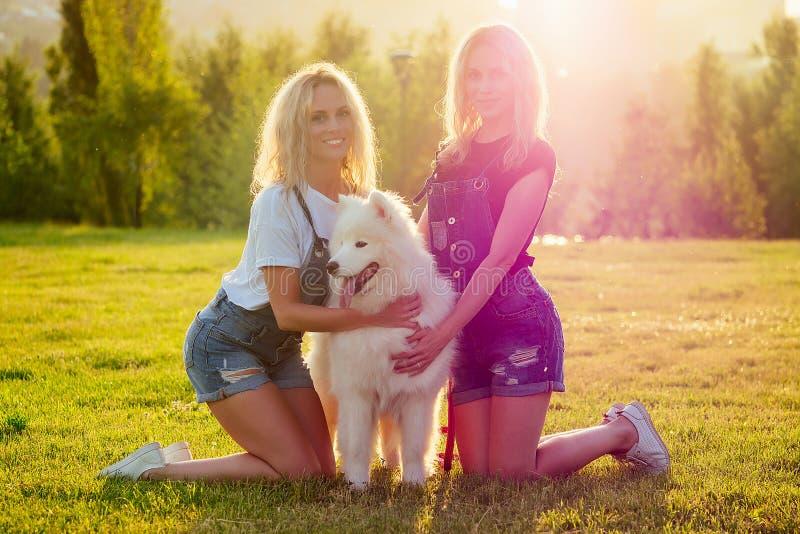 Twee zusters tweeten mooi, blonde, gelukkige jonge vrouwen in denim shorts die bij glas zitten en een witte fluitje knuffelen royalty-vrije stock foto