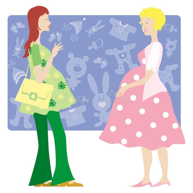 Twee zwangere dames vector illustratie