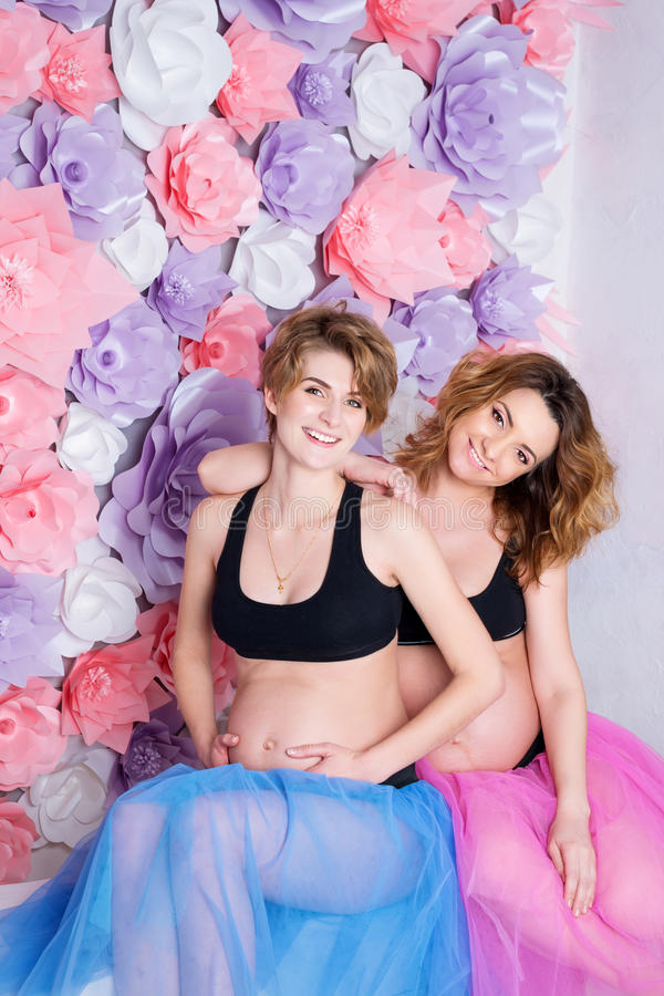 Twee zwangere meisjes stock foto