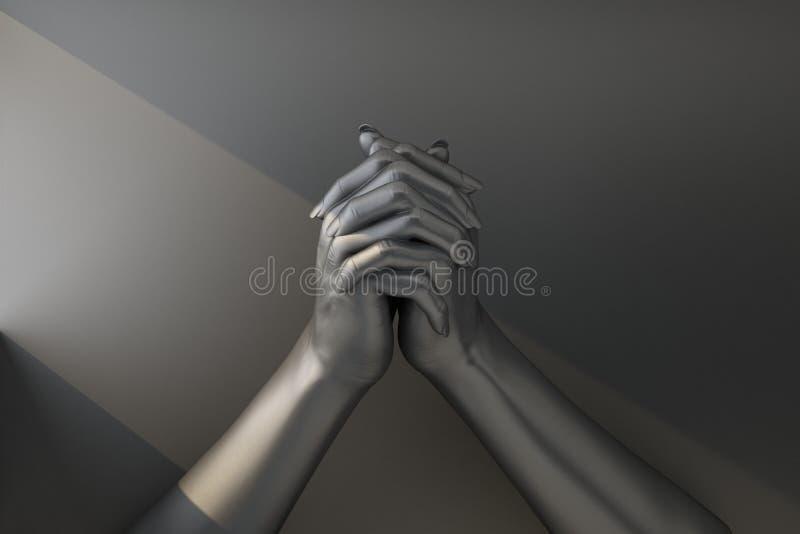 Twee zwarte die handen in een gebaar van gebed worden vastgemaakt royalty-vrije illustratie