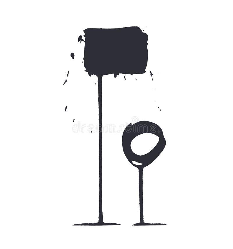 Twee zwarte die kaders in inkt worden getrokken De vlekken van de nevelverf stock illustratie