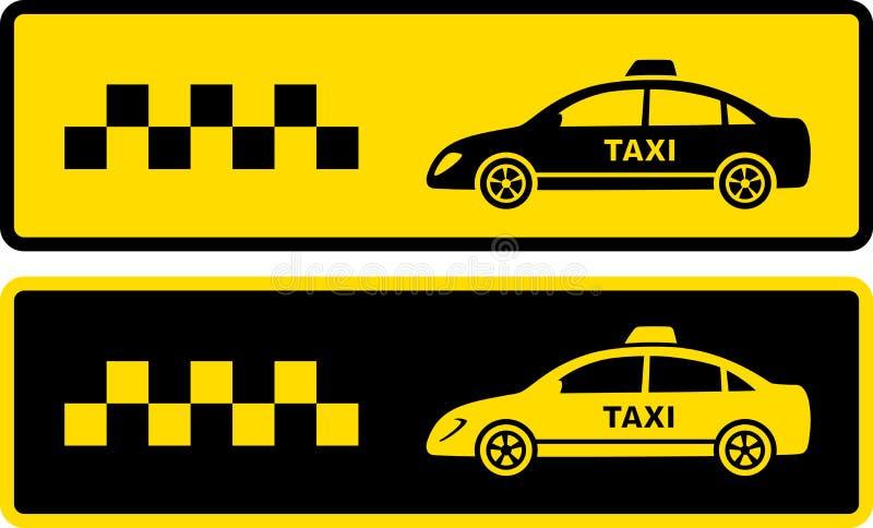 Twee zwarte en gele taxipictogrammen stock illustratie