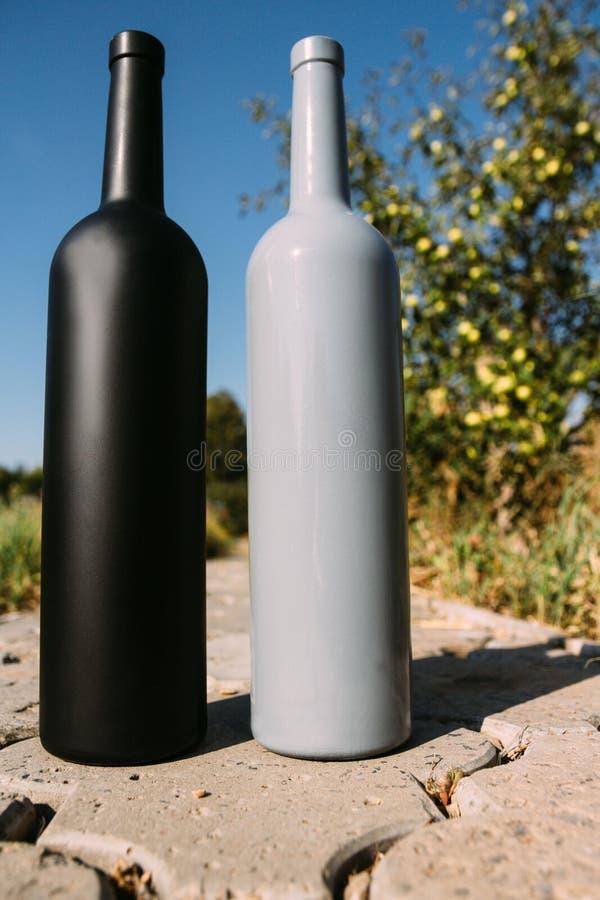Twee zwarte en grijze flessen op de weg van de tegels, het dorp, landelijk alcoholisme, dronkenschap alcoholische ziekte natuurli stock foto's