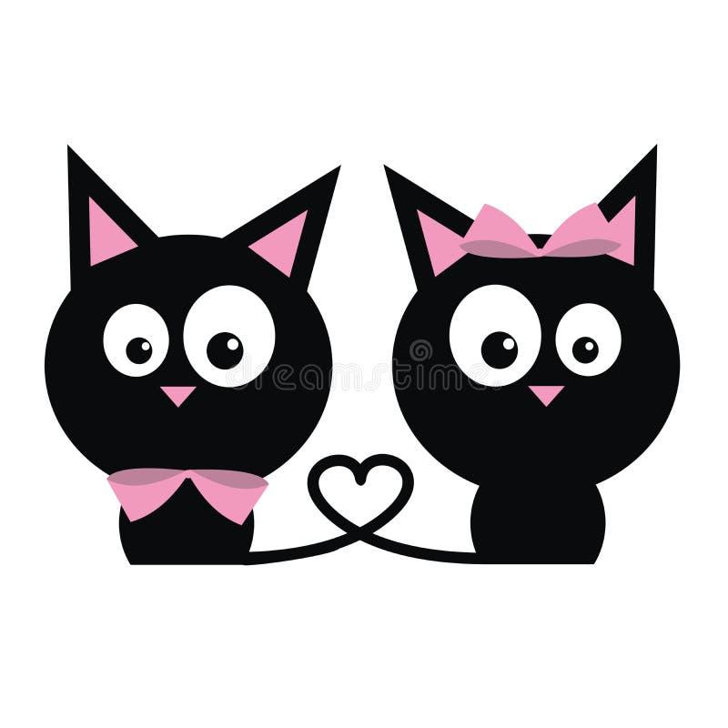 Twee zwarte katten stock illustratie