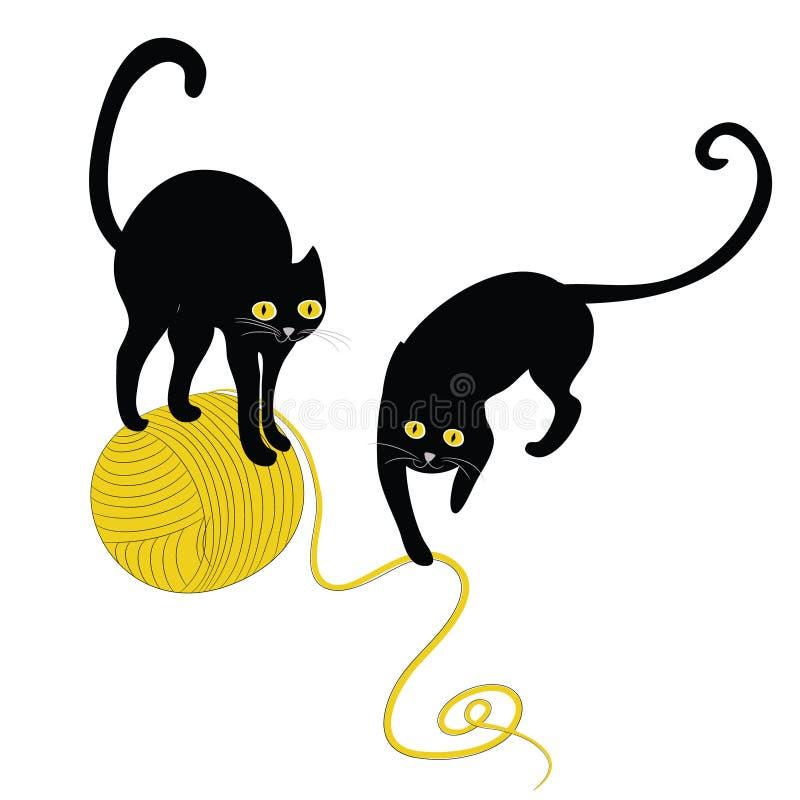 Twee zwarte katten met bal van wol Vector illustratie op witte achtergrond vector illustratie