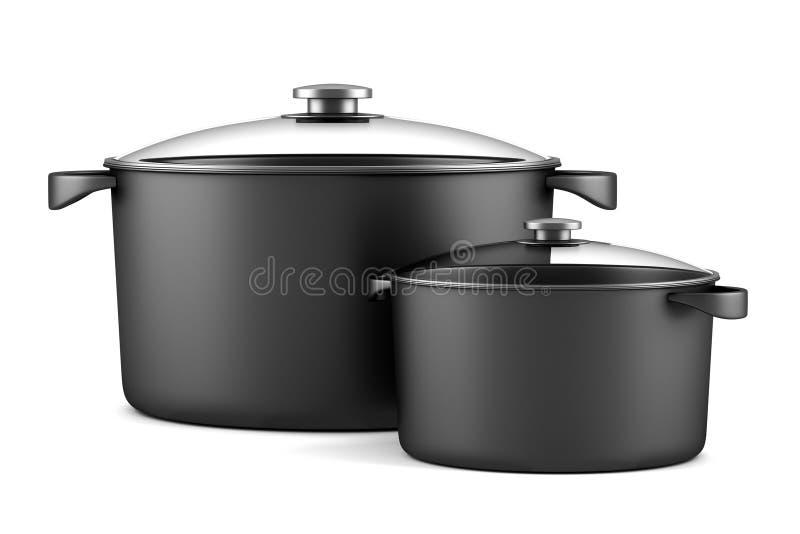 Twee zwarte kokende pannen op wit stock illustratie