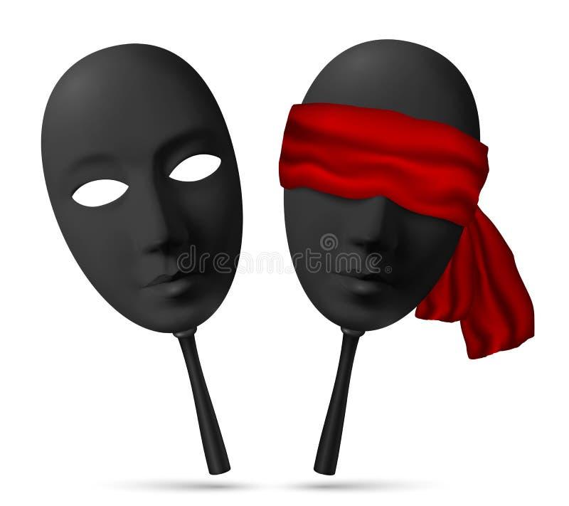 Twee zwarte maskers met open en geblinddochte ogen stock illustratie