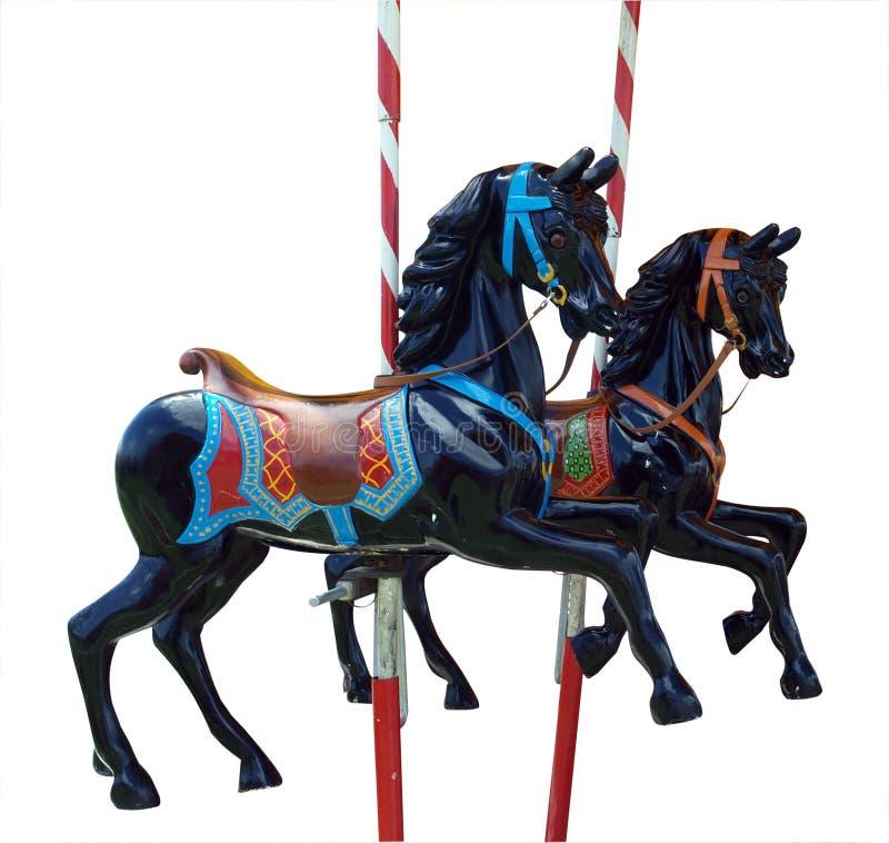 Twee Zwarte vrolijk-gaan-Ronde Paarden stock foto's